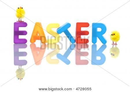 Easter Background With Yellow Baby Chicks And Colorful Letters