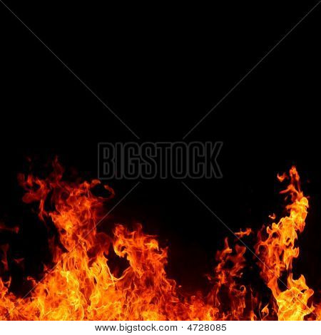 Intense And Vivid Fire On Black Background