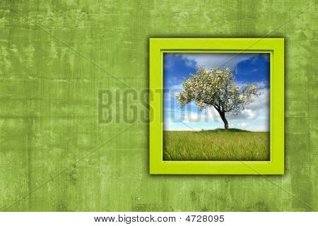 Window With Spring Landscape View