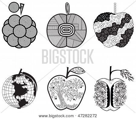Stylized graphics apples