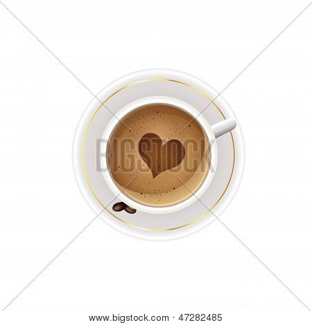 A cup of coffee with heart of foam