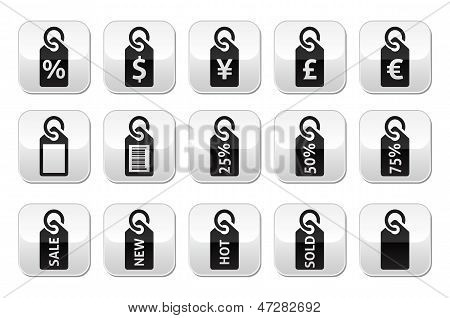 Shopping, price tag, sale vector buttons set
