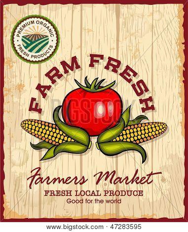 Vintage retro farm fresh poster design