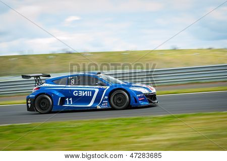 MOSCOW - JUNE 23: Toni Forne of Gravity Charouz team race at Megane Trophy V6 race at World Series by Renault in Moscow Raceway on June 23, 2013 in Moscow
