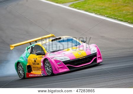MOSCOW - JUNE 23: Vladimir Lunkin of Oregon team race at Megane Trophy V6 race at World Series by Renault in Moscow Raceway on June 23, 2013 in Moscow