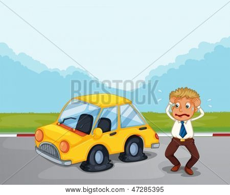 Illustration of a worried gentleman beside his car with flat tires