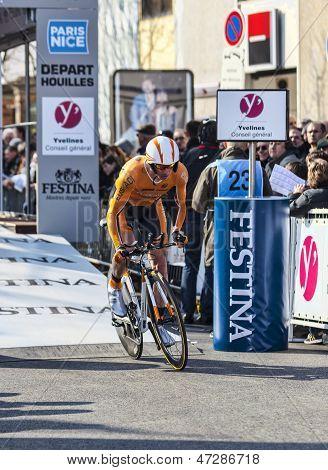 The Cyclist Kocjan Jure- Paris Nice 2013 Prologue In Houilles