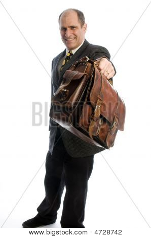 Business Man Offering Expensive Leather Hand Bag