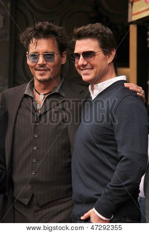LOS ANGELES - JUN 24:  Johnny Depp, Tom Cruise at  the Jerry Bruckheimer Star on the Hollywood Walk of Fame  at the El Capitan Theater on June 24, 2013 in Los Angeles, CA