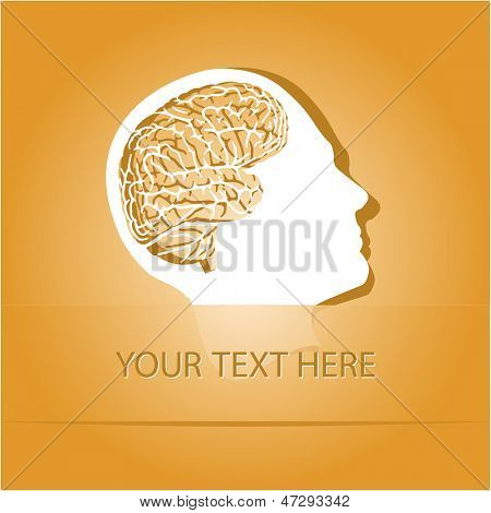 Human brain. Paper sticker as bookmark. Vector illustration. Eps10.