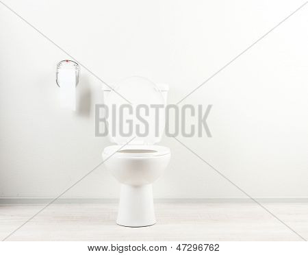 White toilet bowl and toilet paper in a bathroom