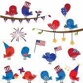 Cute Vector Set of Patriotic or Fourth of July Themed Birds and Branches poster