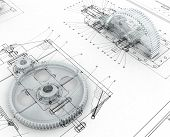 3D render image with mechanical sketch and gears poster