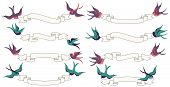 Retro or Vintage Swallows Flying with Banners Vector Set poster