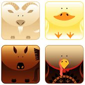 Collection of wild animals icons:goat duck horse and turkey. poster