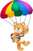 Scalable vectorial image representing a teddy bear parachute holding heart, isolated on white. poster