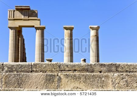 Lindos archaeological site at Rhodes island, Greece poster