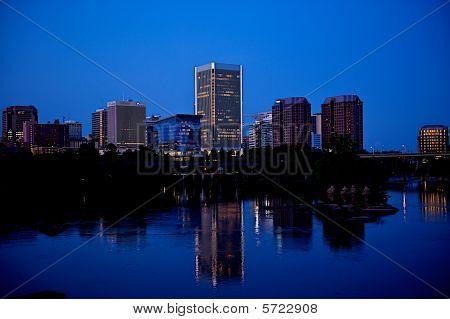 Richmond, Virginia city skyline over the James River.