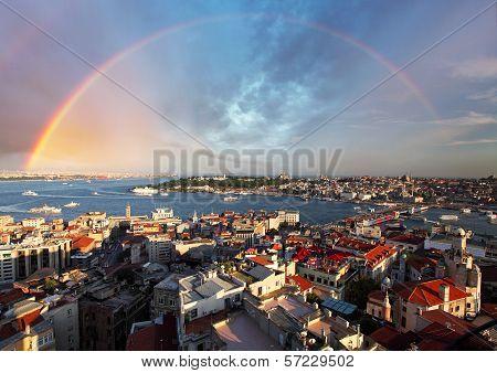 Istanbul Panorama With Rainbow