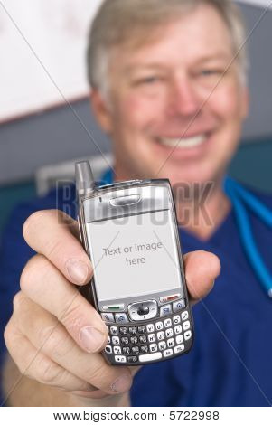 A doctor displays his cell phone as if showing someone the screen display. The screen comes with a clipping path. I have made the copy space slightly gray to show you where the photo or message will appear and will not compete with the white chassis. poster