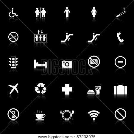 Public Icons With Reflect On Black Background