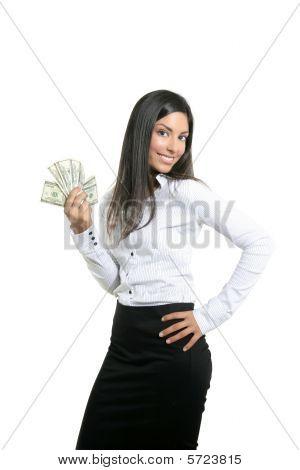 Beautiful Success Businesswoman Holding Dollar Notes
