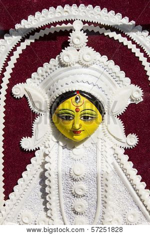 goddess durga with white carving statue in fair poster