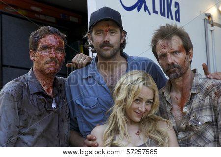 Ryan Honey, Denny Kirkwood, Michael Biehn and Jennifer Blanc  On the Set of
