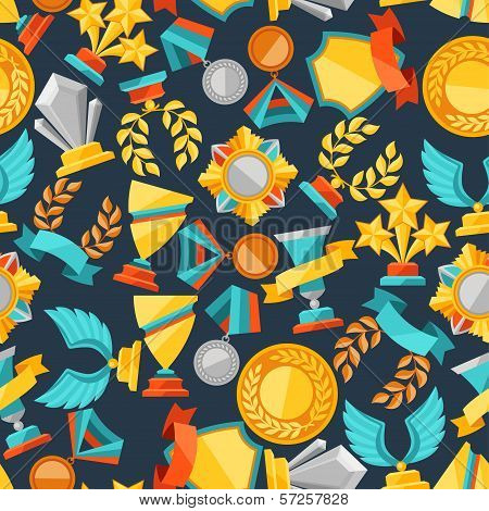 Seamless pattern with trophy and awards. This is file of EPS8 format. poster