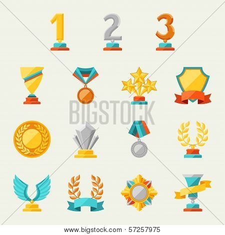 Trophy and awards icons set. This is file of EPS8 format. poster
