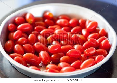 Fresh and sweet homegrown grape tomatoes Crete Island Greece poster