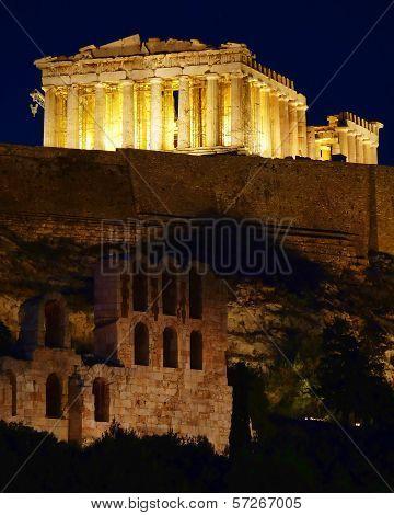 Parthenon ancient temple illuminated, Acropolis of Athens