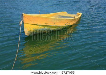 Sunken yellow boat