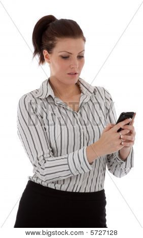 Beautiful Young Business Woman Checking Her Messages