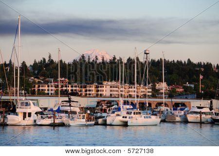 Sailboats and Mt. Rainier