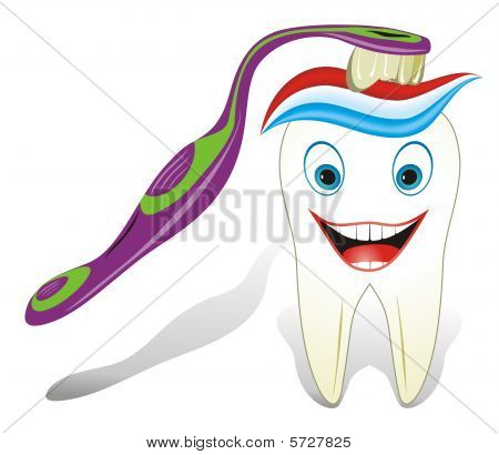 Intact, healthy  molar tooth with toothbrush and toothpaste