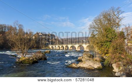 Laufen Castle And Railway Viaduc At Rhine Falls - Switzerland