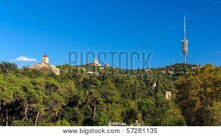 View of Tibidabo mountain in Barcelona Spain poster