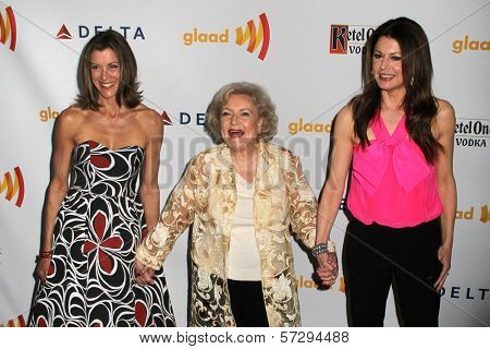 Wendie Malick, Betty White and Jane Leeves at the 23rd Annual GLAAD Media Awards, Westin Bonaventure Hotel, Los Angeles, CA 04-21-12