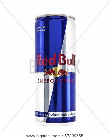 Can Of Red Bull Energu Drink On White Background
