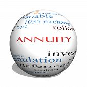Annuity 3D sphere Word Cloud Concept with great terms such as investment rollover income and more. poster