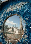 Frozen porthole on the old ships . poster