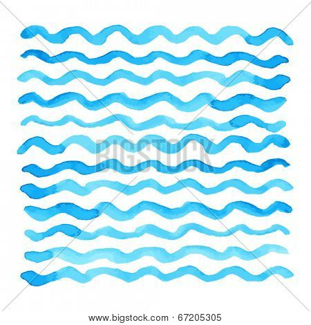 Abstract watercolor blue wave pattern, water texture sketch background. Drawing by hand. Vector illustration