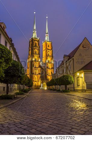 Night Photo Of St. John`s Cathedral, Wroclaw, Poland