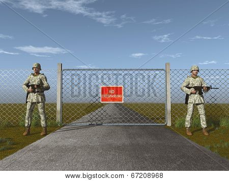 Soldiers standing guard in front of a gate