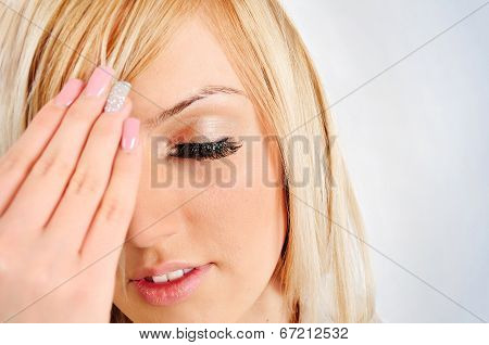 Woman On Gray Background
