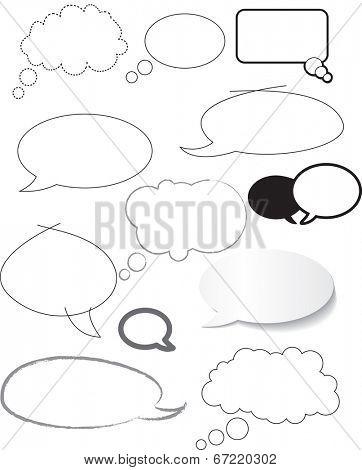 white speech bubbles hand drawn