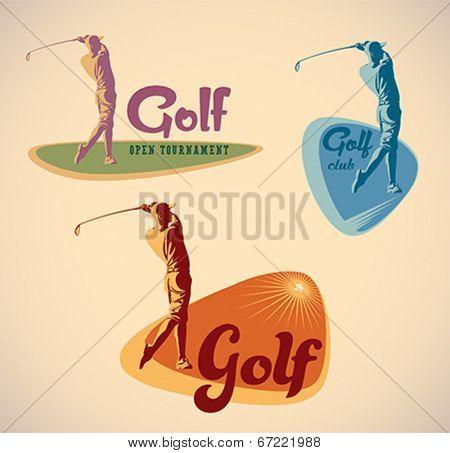 Set of vintage styled golf tournament labels. Editable vector illustration.