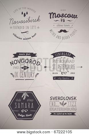 6 Hand Drawn Style Logos. Trendy Retro Vintage Insignias Bundle Volume 1