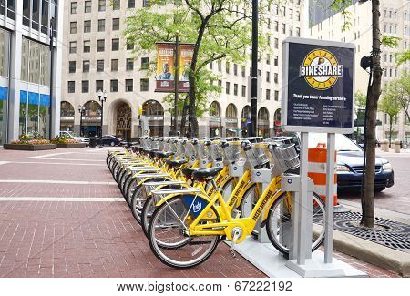 Bike Share Indianapolis Street View With Sign